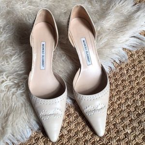 MANOLO BLAHNIK Pointed Toe Leather Stiletto Heel